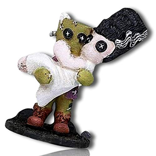 mySimpleProduct.Shop Cartoon Monster Husband Holding Bride Beehive Hairdo Tattered Stitched Clothing Button Eyes Wedding Dress Suit Statue Figurine Sculpture + Certificate ()