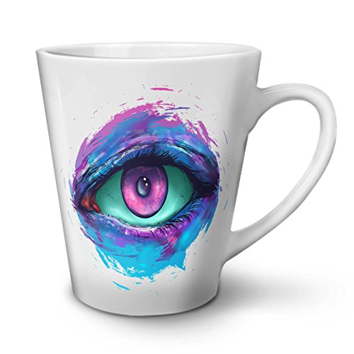 Heart Contact Lenses (All Seeing Eye Fear Eyesight White Tea Coffee Ceramic Latte Mug 12 oz | Wellcoda)