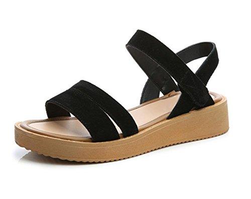 RuiDamen Sommer-Sandalen flache Sandalen runden offene Spitze Sandalen und  Pantoffeln Black
