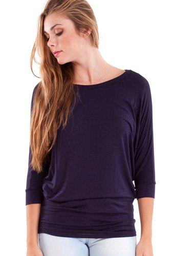 Ladies Navy Blue Dolman Style 3/4 Sleeve Long Hem Top