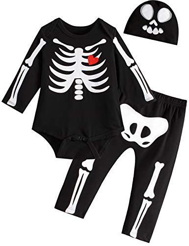 Skeleton And Baby Skeleton Costumes - 3PC Outfit Set Baby Boys Girls