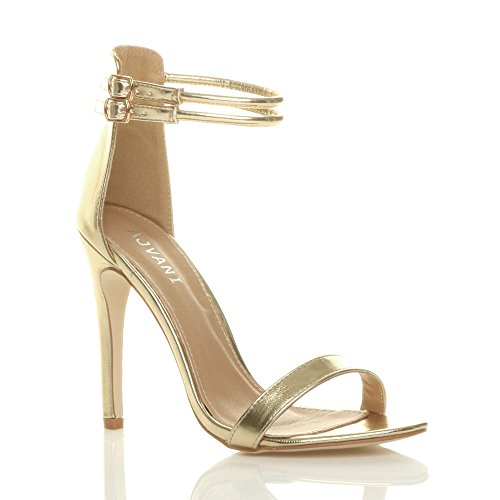 Ajvani Size Gold Heel Women There Shoes Sandals Metallic Barely Strappy High fqFrnwZf