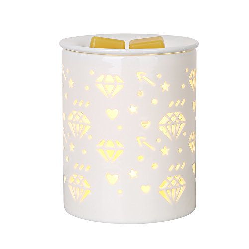 COOSA Ceramic Diamond Pattern Oil Warmer Electric Incense Burner Wax Tart Burner Fragrance Warmer Night Light Aroma Decorative Lamp for Home Office Bedroom Living Room Gifts & Decor Diamond Incense