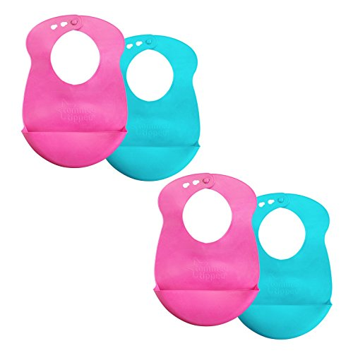 Tommee Tippee Roll 'n' Go Baby Pouch Drip Catcher Baby Bib, 7+ Months - Pink and Teal, 4 Pack
