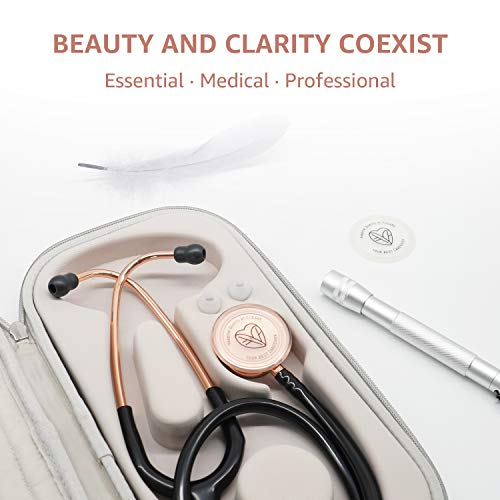 FriCARE Rose Gold Stethoscope with Carrying Case & Pen Light, Nurse/Doctor/Medical Student Gifts (Black)