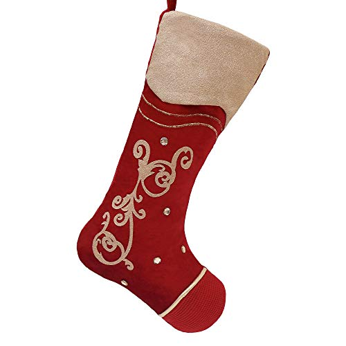 Teresa#039s Collections 21quot Warmly Red Gold Christmas Stocking Baroque Pattern Design Themed with Tree Skirt Not Included