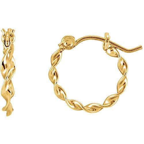 (14K Yellow Gold Twisted Tube Hoop Earrings, (1.5mm Tube) (13mm))