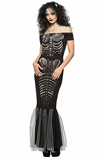 Women Sexy Off Shoulder Slash Neck Halloween Party Role Play Skeleton Mermaid Scary Cosplay Party Costumes (Mermaid Costume Party City)