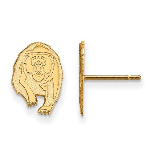 14k Yellow Gold LogoArt Official Licensed Collegiate University of California (UC) Berkeley Small Post Earrings by LogoArt