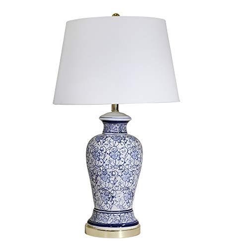 Sagebrook Home 50074-02 Ceramic Floral Print Table, Blue/White, 31