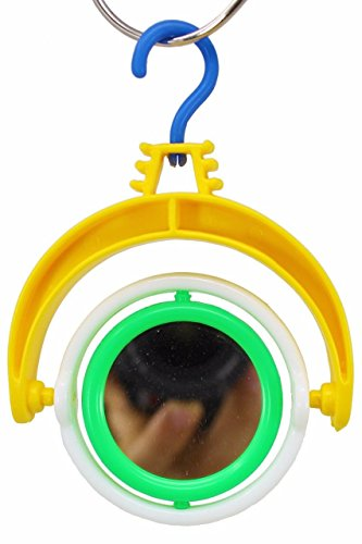Spinning Mirrors Bird Toy - 6621 Bonka Bird toys Spin Mirror cockatiel parakeet toy canary cages budgie (Yellow/Green)