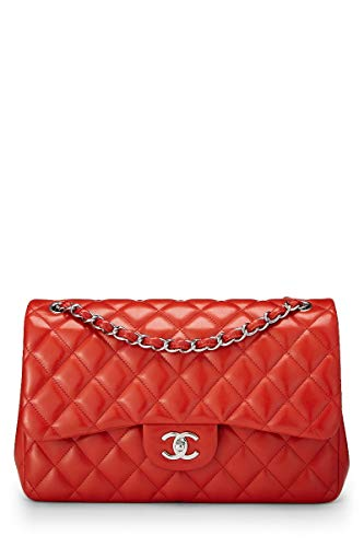 CHANEL Red Quilted Lambskin Classic Double Flap Jumbo - Flap Chanel Bag