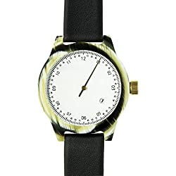 Squarestreet SQ03 Minuteman One Hand Off-White Watch - Horn/Black Leather