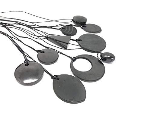 Karelian Heritage Shungite Pendant Set for Chakra Balancing, EMF Protection Jewelry (5 Pendants) S014