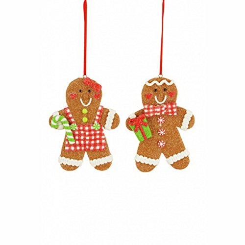 FloristryWarehouse Plastic Gingerbread Man Hanging Christmas Decorations x 2