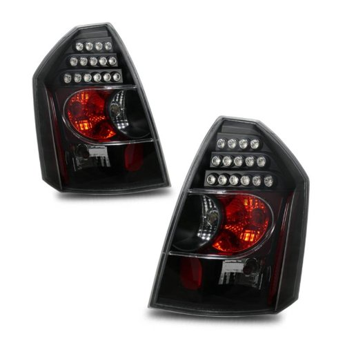 SPPC L.E.D Taillights Black Assembly Set For Chrysler 300/300C - (Pair) Driver Left and Passenger Right Side Replacement