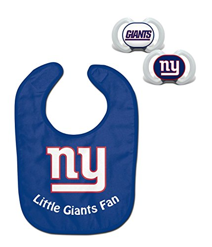 Official NFL Fan Shop Authentic Baby Pacifier and Bib Bundle Set. Start Out Early in Joining The Fan Club and Show Support for Your Favorite Football Team (New York Giants)