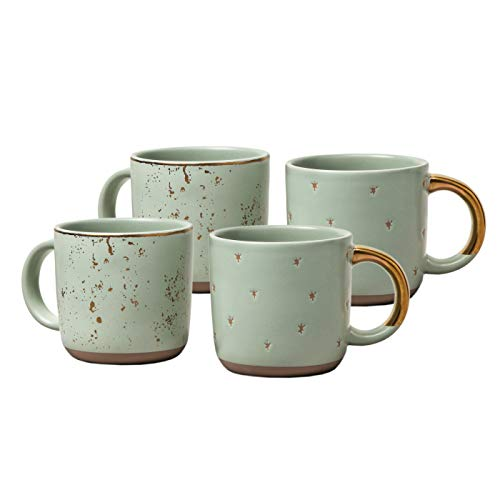 Hearth and Hand Magnolia Stoneware Mini Coffee Mug Speckled Light Green, 2-Piece Set (2)