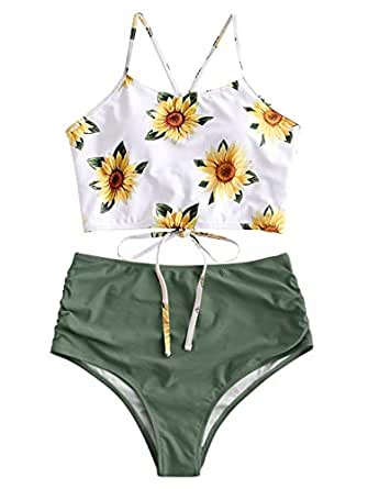 ZAFUL Women Crisscross Ruched Sunflower Tankini Set 2 Pieces Adjustable Spaghetti Straps Swimwear - Green - 2XL(fit US 12)