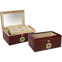 Prestige Import Group - The Berkeley Glass Top Digital Cigar Humidor - Color: Cherry