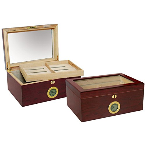 Prestige Import Group - Berkeley Glass Top Humidor w/Digital Hygrometer - Color: Cherry