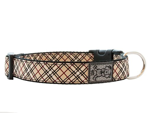 RC Pet Products 1-Inch Adjustable Dog Clip Collar, 12 to 20-Inch, Medium, Tan Tartan