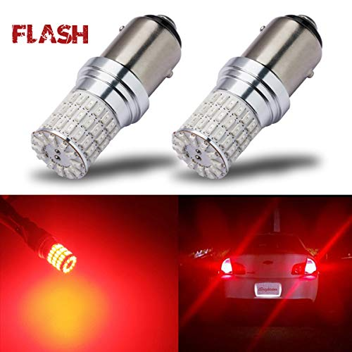 iBrightstar Newest 9-30V Flashing Strobe Blinking Brake Lights 1157 2057 2357 7528 BAY15D LED Bulbs replacement for Tail Brake Stop Lights, Brilliant Red (2004 Dodge Stratus Rt Coupe For Sale)