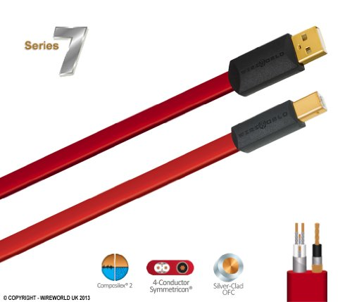 Wireworld Starlight 7 USB 2.0 Flat Cable, A to B, 2.0 Meter (6.5 Feet) by Wireworld