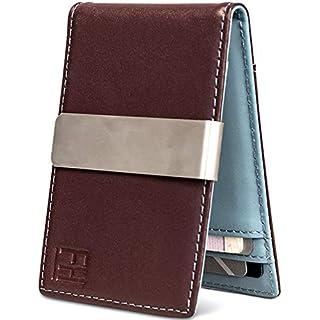 F&H Minimalist Slim Leather Wallet Money Clip Holds 8 Cards (Brown Espresso/Slate Blue)