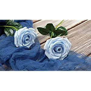 Baby Blue Paper Rose Unique Anniversary Gift For Her Handmade Crepe Paper Flowers for Valentine Birthday Mother Day, Single Long Stem Real Looking, 01 Flower 3