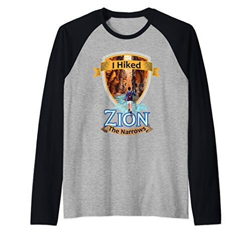 I Hiked Zion The Narrows - Utah River Adventure Souvenir Raglan Baseball Tee (Best Slot Canyon Hikes In Utah)