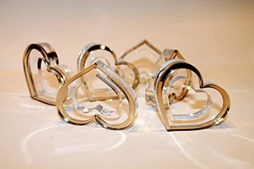 Gold Wedding Napkin Rings Set Heart Napkin Ring