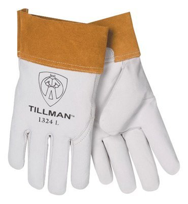Tillman 1328L Large Pearl Top Grain Goatskin Standard Grade TIG Welders Gloves With Wing Thumb, 4