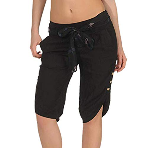 F_topbu Casual Pants for Women Elastic Waist Check Pants Shorts Baggy Wide Leg Plus Capris Black