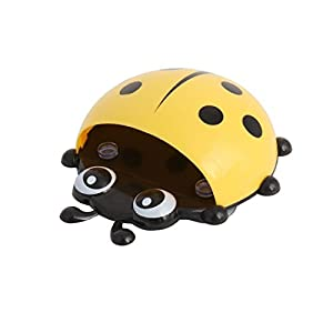 uxcell Plastic Bathroom Ladybird Pattern Suction Cup Wall Toothbrush Soap Holder Organizer Yellow 50%OFF