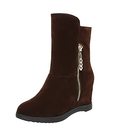 Women's Imitated Boots Brown High Solid top Suede AgooLar Low Zipper Heels dAwxBO7