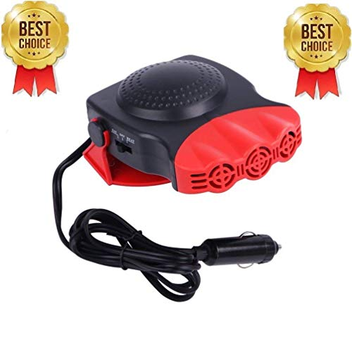 Portable Car Heater,Ferryone 30 Seconds Fast Heating Quickly Defrosts Defogger 12V 150W Auto Ceramic Heater Cooling Fan 3-Outlet(Red)