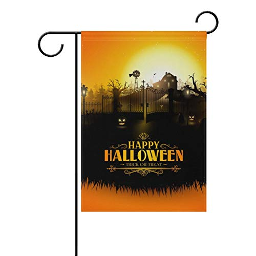 Decorative Happy Halloween Trick or Treat Sunset Castle Garden Yard Flag Banner for Outside House Flower Pot Double Side Print 28x40IN -