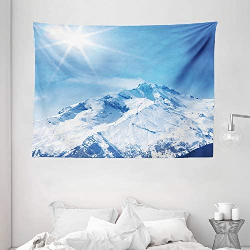 Ambesonne Mountain Tapestry, Photo of Big Mountain s Snowy Peak and Sun in Sky Nature Landscape Art, Wide Wall Hanging for Bedroom Living Room Dorm, 80 X 60 , White Blue
