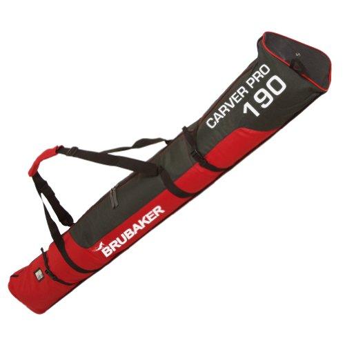"BRUBAKER Padded Ski Bag Skibag Carver Pro 2.0 with strong 2-Way Zip and Compression Straps - Red Black - 74 3/4"""