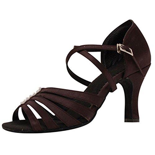YFF Regalo Zapatos 41 Zapatos baile latino de tango Salón 7 de de Mujer Baile baile baile CM de marrón rrqAfd