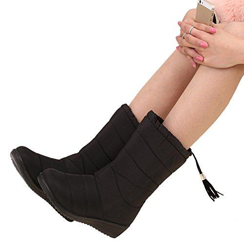 Qiangsoo Women Winter Warm Snow Boots Cute Tassels Mid-calf Waterproof Boots Black 7.5