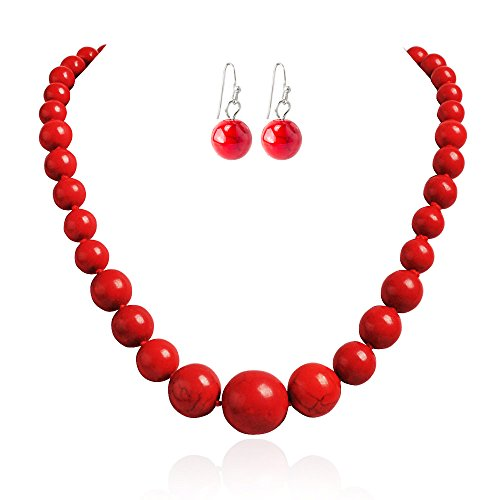 Jane Stone Fashion Simulated Turquoise Red Beads Necklace Statement Bib Jewelry Set for (Costumes For Cheap)
