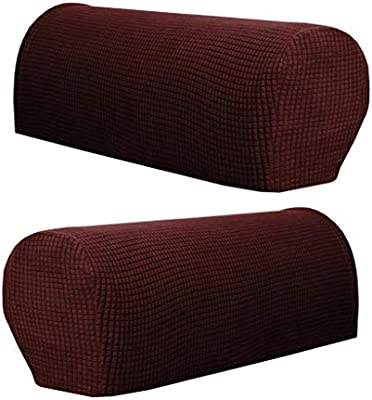 Loviver Stretch Armrest Covers Sofa Armchair Slipcovers Polyester Anti Slip Recliner Arm Covers Furniture Protector Couch Armrest Protector Set Of