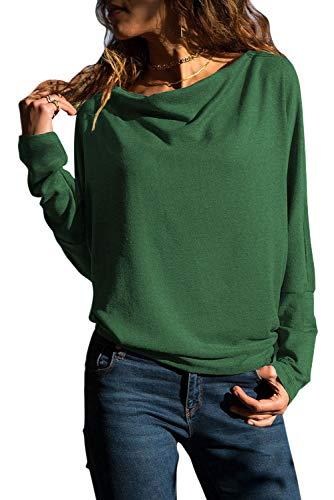 Grace's Secret Womens Tops Long Sleeve T Shirt Cowl Neck Casual Slim Tunic Tops for Women - Long Drape Sleeve Neck