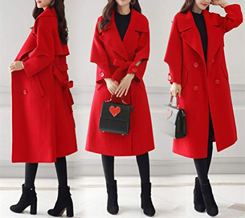 Señoras La Rojo Invierno Lana Otoño Invierno Largo Las Abrigo Delgada Cálido Nizi Señora Temperamento Algodón Femenino Cintura E De qU7Wx18w