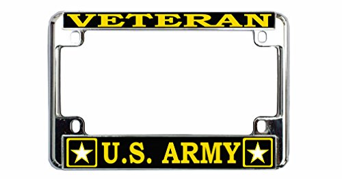 (New Custom Auto Tag VETERAN US ARMY Quality Metal MOTORCYCLE License Plate Frame)