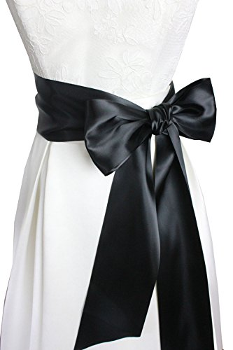 4'' Wide 90 Long Simple Ribbon Sash for Formal Wedding Dress Belts (Black)