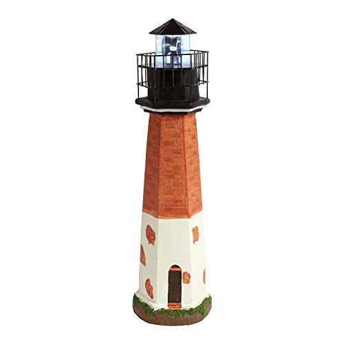 "30"" Point Judith Style Solar Lighthouse with Rotating Lighted Beacon"