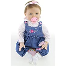 "Christmas Birthday Gift Soft 22"" Brazilian Virgin Implanted Hair Cow Butterfly Clothes Girl Simulation Boneca Bebe Kids Toy Silicone Reborn Baby Dolls Holiday Wedding Reduce Anxiety Help Autism Pregn"